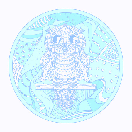 Owl. Eastern pattern on white. Hand drawn mandala with abstract patterns on isolation background. Design for spiritual relaxation for adults. Art creative. Printing on t-shirts and posters Иллюстрация
