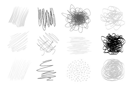 Backgrounds with array of lines on white. Intricate chaotic textures. Wavy backdrops. Hand drawn tangled patterns. Black and white illustration. Elements for design Illustration