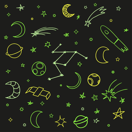 Cosmos elements on isolated background. Collection. Colorful doodles for design. Hand drawn simple space symbols. Line art. Set of different astronomical signs. Art creation