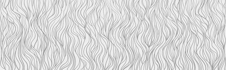 Fondo ondulado. Olas dibujadas a mano. Papel tapiz transparente en superficie horizontal. Textura de rayas con muchas líneas. Patrón ondulado. Ilustración en blanco y negro para pancartas, folletos o carteles. Ilustración de vector