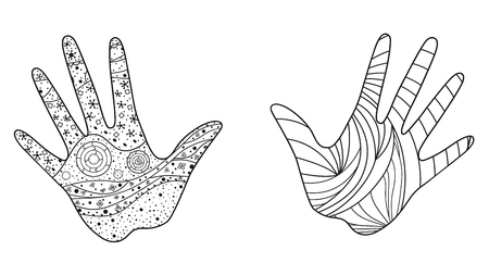 Hands with abstract patterns on isolation background. Design for spiritual relaxation for adults. Zen art. Doodles for banners, posters and textiles. Black and white illustration for coloring Illustration