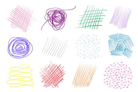 Backgrounds with array of lines. Intricate chaotic textures on white. Wavy backdrops. Hand drawn tangled patterns. Colorful illustration. Elements for posters and flyers Reklamní fotografie - 127075863