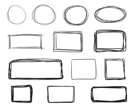 Líneas dibujadas a mano sobre fondo aislado. Texturas geométricas caóticas con rayado. Telones de fondo ondulados enredados. Ilustración en blanco y negro. Elementos para carteles y volantes.