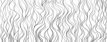 Waved background. Hand drawn waves. Seamless wallpaper on horizontally surface. Stripe texture with many lines. Wavy pattern. Line art. Print for banner, flyer or poster