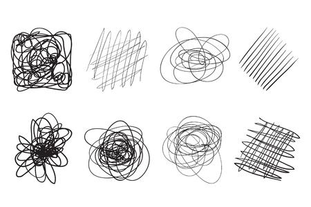 Hintergründe mit Reihe von Linien. Komplizierte chaotische Texturen. Wellenförmige Kulissen. Handgezeichnete verworrene Muster. Schwarz-Weiß-Abbildung. Elemente für Poster und Flyer Vektorgrafik