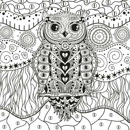 Abstract eastern pattern with owl on isolated white. Zentangle. Hand drawn abstract patterns on isolation background. Design for spiritual relaxation for adults. Black and white illustration