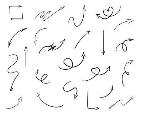 Elementi infografici disegnati a mano su bianco. Frecce astratte. Linea artistica. Insieme di segni diversi. Illustrazione in bianco e nero. Scarabocchi per opere d'arte Vettoriali