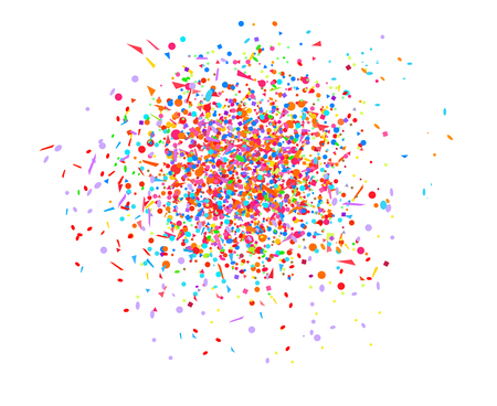 Confetti on isolated white. Geometric background with multicolored glitters. Pattern for design. Print for polygraphy, posters, banners and textiles. Greeting cards. Luxury texture Vector Illustratie