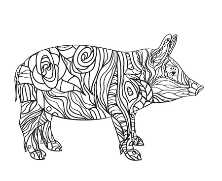Pig on white. Hand drawn animal with intricate patterns on isolated background. Design for spiritual relaxation for adults. Image for your banner, flyer or textile. Black and white illustration