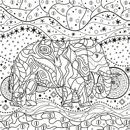 Elephant on abstract mandala. Hand drawn animal with tribal patterns on isolation background. Design for spiritual relaxation for adults. Black and white illustration for coloring.