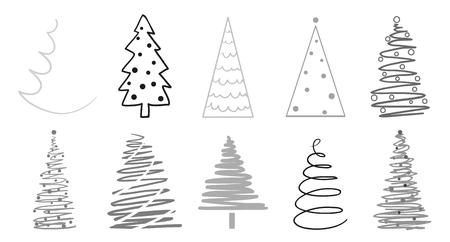 Alberi di Natale su bianco. Impostare per le icone su sfondo isolato. Oggetti per poligrafia, poster, t-shirt e tessuti. Illustrazione in bianco e nero Vettoriali