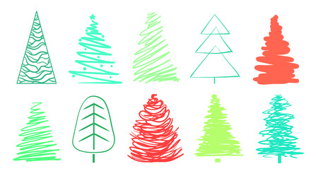 Christmas trees on white. Set for icons on isolated background. Geometric art. Objects for polygraphy, posters, shirts and textiles. Colored illustration Ilustração