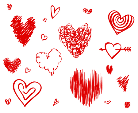 Hand drawn hearts on isolated white background. Set of love signs. Unique illustration for design. Line art creation. Colored illustration. Elements for poster or flyer