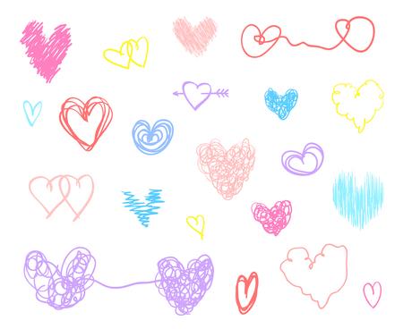 Hand getrokken harten op geïsoleerde witte achtergrond. Set van liefde tekenen. Unieke illustratie voor ontwerp. Lijn kunst creatie. Gekleurde afbeelding. Elementen voor poster of flyer