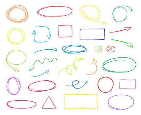Multicolored infographic elements on isolated white background. Hand drawn simple arrows. Line art. Set of different pointers. Abstract indicators and shapes