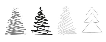 Alberi di Natale su bianco. Impostare per il design su sfondo isolato. Arte geometrica. Oggetti per poligrafia, poster, t-shirt e tessuti. Illustrazione in bianco e nero
