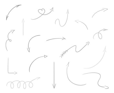 Éléments infographiques dessinés à la main sur blanc. Flèches abstraites. Dessin au trait. Ensemble de signes différents. Illustration en noir et blanc. Griffonnages pour les œuvres d'art Vecteurs