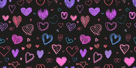 Hand drawn background with hearts. Seamless grungy wallpaper on surface. Chaotic texture with many love signs. Lovely pattern. Line art. Print for banner, flyer or poster. Colorful illustration