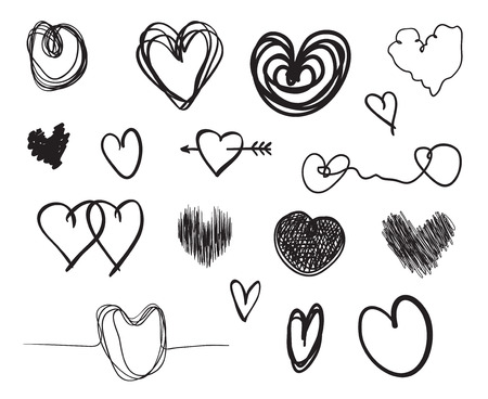 Hand drawn hearts on isolated white background. Set of love signs. Unique image for design. Line art creation. Black and white illustration. Elements for your work