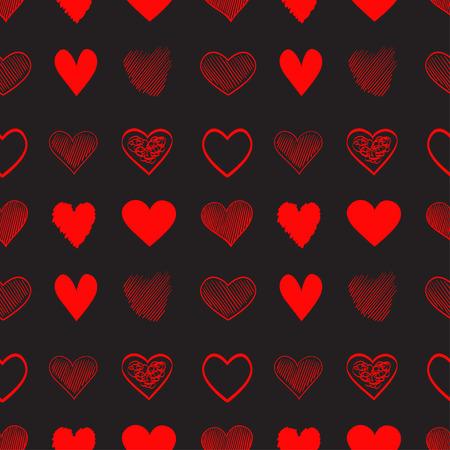 Fond dessiné à la main avec des coeurs colorés. Fond d'écran grungy sans couture sur la surface. Texture chaotique avec des signes d'amour. Joli motif. Dessin au trait. Imprimez pour une bannière, un dépliant ou une affiche. Illustration colorée