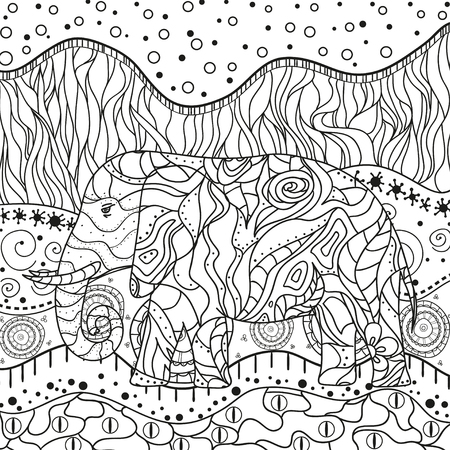Abstract square mandala. Hand drawn elephant with patterns on isolation background. Design for spiritual relaxation for adults. Black and white illustration for coloring