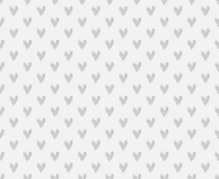 Hand drawn background with hearts. Seamless grungy wallpaper on surface. Chaotic texture with many love signs. Lovely pattern. Line art. Print for banner, flyer or poster. Black and white illustration Çizim