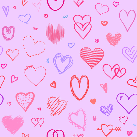 Hand drawn background with colored hearts. Seamless grungy wallpaper on surface. Abstract texture with love signs. Lovely pattern. Line art. Print for banner, flyer or poster. Colorful illustration Vettoriali
