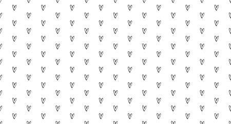 Hand drawn background with hearts. Seamless wallpaper on surface. Chaotic texture with many love signs. Lovely pattern. Line art. Print for banner, flyer or poster. Black and white illustration