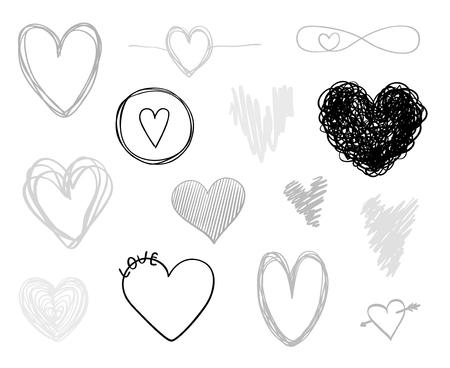 Hand drawn grunge hearts on isolated white background. Set of love signs. Unique image for design. Line art creation. Black and white illustration. Elements for poster or flyer