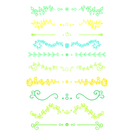 Colorful ornaments on white. Hand drawn ornate elements with abstract patterns on isolation background. Design for spiritual relaxation for adults. Zentangle. Zen art