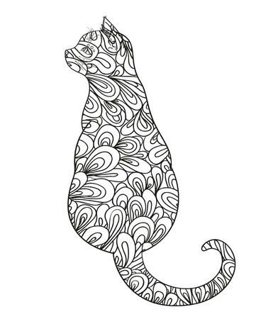 Cat on white. Zentangle. Hand drawn animal with abstract patterns on isolation background. Design for spiritual relaxation for adults. Outline for flyer or poster. Black and white illustration