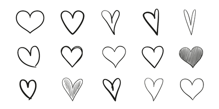 Hand drawn grunge hearts on isolated white background. Set of love signs. Unique signs for design. Black and white illustration. Doodles for flyers, greeting cards and banners. Creative art sketches Çizim