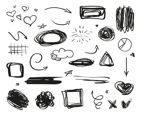 Infographic elements on isolation background. Backgrounds with array of lines on white. Intricate chaotic textures. Hand drawn tangled patterns. Black and white illustration Ilustração