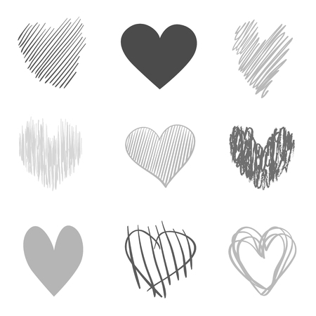 Hand drawn grunge hearts on isolated white background. Set of love signs. Unique signs for design. Black and white illustration. Doodles for flyers, greeting cards and banners. Creative art sketches 向量圖像