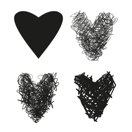 Hand drawn grunge hearts on isolated white background. Set of love signs. Unique image for design. Black and white illustration. Grungy elements for design 向量圖像