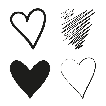 Hand drawn grunge hearts on isolated white background. Set of love signs. Unique image for design. Black and white illustration. Grungy elements for design Çizim