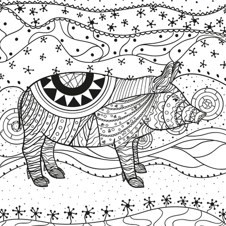 Intricate wallpaper with pig. Wavy ornaments on white. Abstract eastern pattern. Hand drawn texture with abstract patterns on isolation background. Design for spiritual relaxation for adults