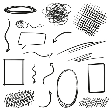 Hand drawn infographic elements on white. Abstract arrows. Line art. Set of different shapes. Black and white illustration. Doodles for artwork