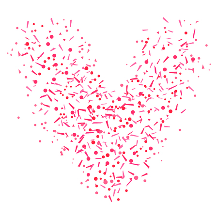 Heart from confetti on isolated white. Holiday colorful background from geometric elements. Festive pattern for banners, posters and flyers. Greeting cards. Doodle for design and business