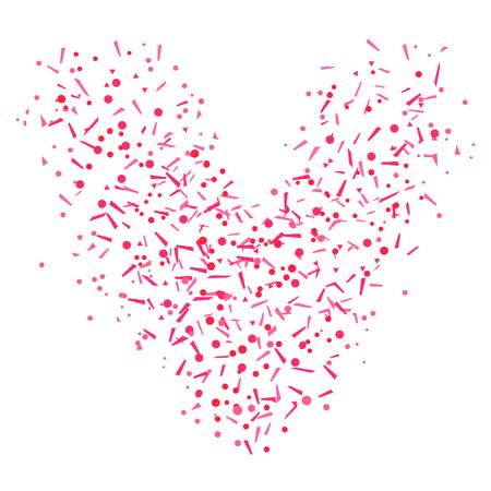 Herz aus Konfetti auf isoliertem Weiß. Urlaub bunter Hintergrund aus geometrischen Elementen. Festliches Muster für Banner, Poster und Flyer. Grußkarten. Doodle für Design und Business