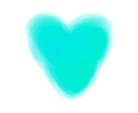 Watercolor digital heart on white. Aquarelle blotch on isolated background. Colored blur stain. Hand drawn spot for design and work. Colorful illustration
