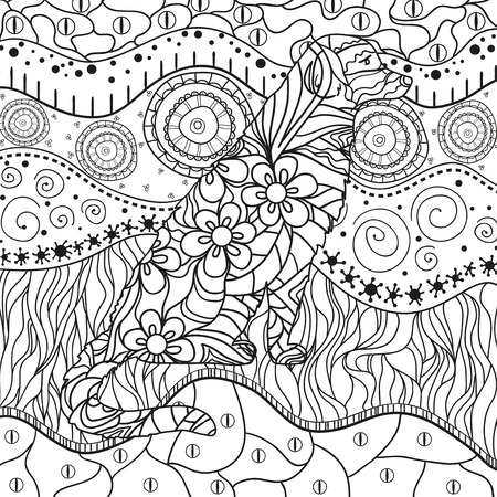 Ornate wallpaper with dog. Hand drawn waved ornaments on white. Abstract patterns on isolated background. Design for spiritual relaxation for adults. Line art. Black and white illustration