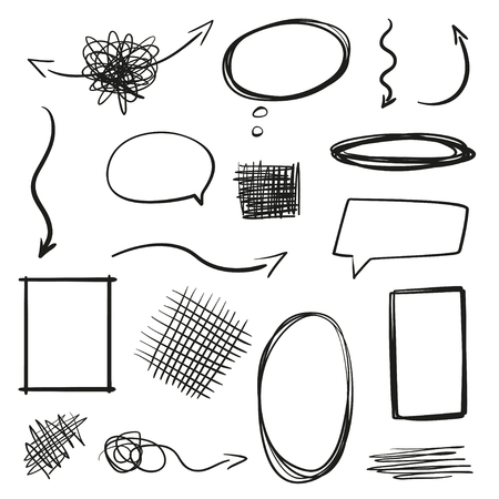 Infographic elements on isolation background. Hand drawn frames and arrows on white. Abstract frameworks. Line art. Set of different shapes. Black and white illustration. Doodles for artwork Illustration