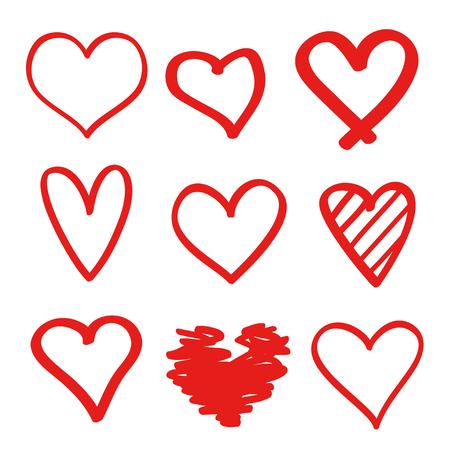 Coeurs colorés sur fond blanc isolé. Ensemble de signes d'amour dessinés à la main. Image abstraite unique pour la conception. Création d'art au trait. Illustration colorée. Éléments pour affiche ou flyer