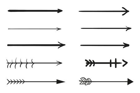 Éléments d'infographie sur fond d'isolement. Collection de flèches sur blanc. Surligneurs pour la conception. Pointeurs simples dessinés à la main. Dessin au trait. Ensemble de différents signes. Symboles abstraits. Griffonnages pour le travail Vecteurs