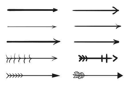 Elementos de infografía sobre fondo de aislamiento. Colección de flechas en blanco. Resaltadores para el diseño. Punteros simples dibujados a mano. Arte lineal. Conjunto de diferentes signos. Símbolos abstractos. Garabatos para el trabajo Ilustración de vector
