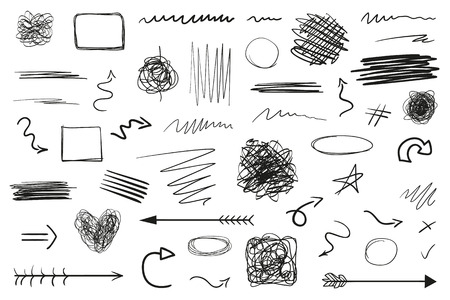 Infographic elements on isolation background. Hand drawn frames and arrows on white. Abstract frameworks. Line art. Set of different shapes. Black and white illustration. Doodles for artwork