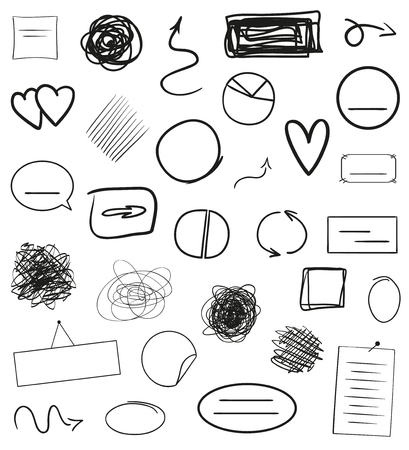 Infographic elements on isolation background. Hand drawn frames and arrows on white. Abstract frameworks. Line art. Set of different shapes. Black and white illustration. Doodles for artwork Иллюстрация