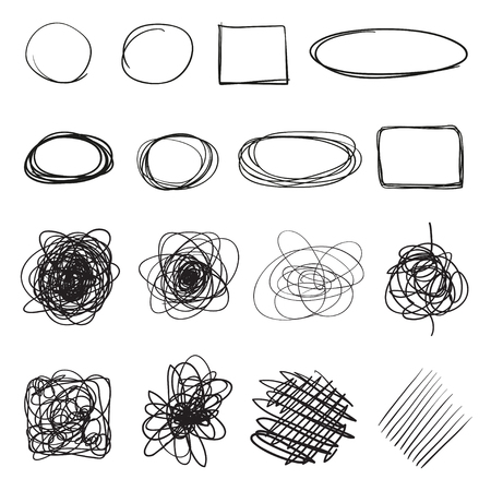 Infographic elements on isolation background. Hand drawn frames on white. Abstract frameworks. Line art. Set of different shapes. Black and white illustration. Doodles for artworks Illustration