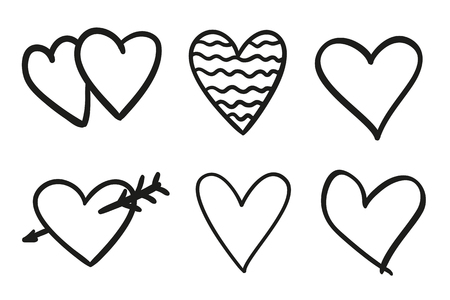 Hand drawn grunge hearts on isolated white background. Set of love signs. Unique image for design. Black and white illustration. Simple elements for design